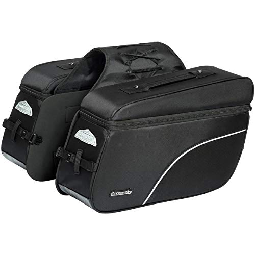 Tour Master NC 4 Nylon Slant Street Motorcycle Saddle Bags - Black/X-Large (Nylon Motorcycle Saddlebags)
