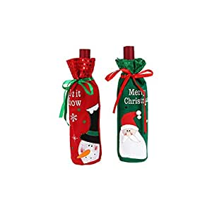 2pcs Christmas Decorations Bottle Set Santa Claus And Snowman Christmas Wine Bag Gift Bag
