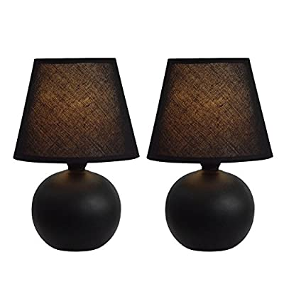 Simple Designs LT2008-BLK-2PK Mini Ceramic Globe Table Lamp 2 Pack Set, Black