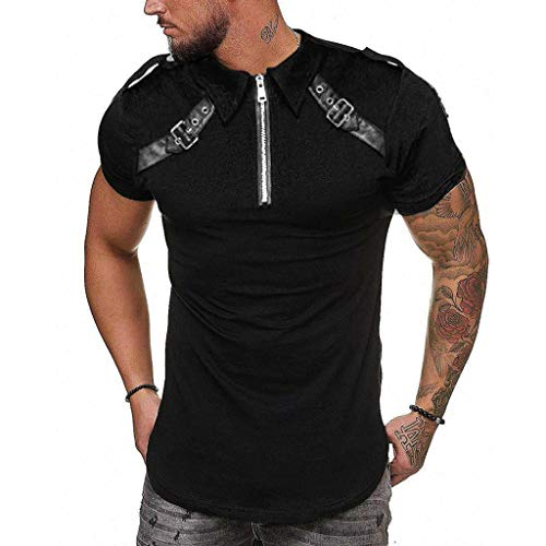 Mens Summer t Shirts Short Sleeve,Tronet Men Vintage Casual Summer Patchwork Leather Zipper Short Sleeve Shirt Top Blouse Black]()