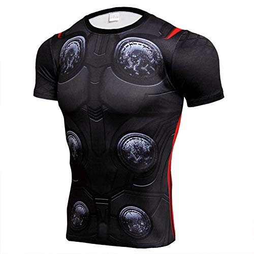 Short Sleeve Thor Compression Worktous Shirt Cool Cosplay Costume L ()