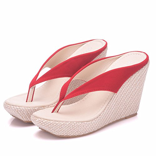 Women Beach Sandals Platform Wedges Sandals High Heels Wedges Slippers Flip Flops White Flip Flops Plus Size (39 M EU / 8 B(M) US, -