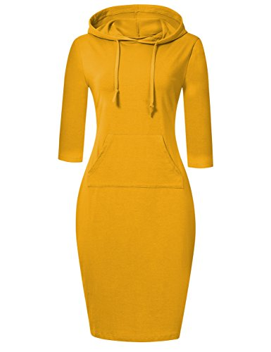 MISSKY Long Sleeve Yellow Dresses for Women Stripe Pocket Knee Length Slim Sweatshirt Casual Pullover Hoodie Dress for Women (L, Yellow)