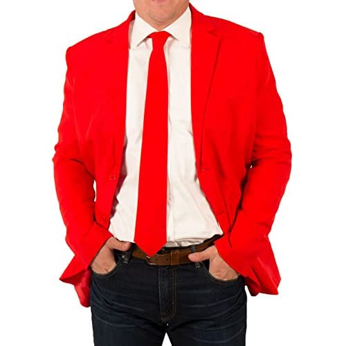 Hot Festified Men's Classic Party Suit Coat and Tie In Red