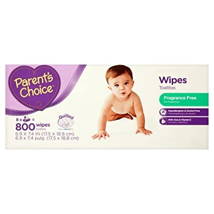 Parents Choice Fragrance Free Baby Wipes | Contains Aloe and Vitamin E (800 sheets)