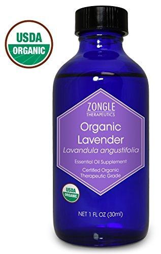 Zongle USDA Certified Organic Lavender Essential Oil, Bulgarian, Safe to Ingest, Lavandula Angustifolia, 1 - Inhaler Relief Insomnia Scent