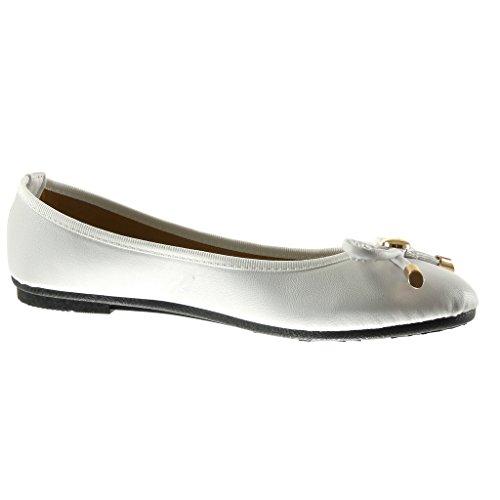 Angkorly - Scarpe da Moda ballerina slip-on donna nodo metallico Tacco tacco piatto 1 CM - Bianco