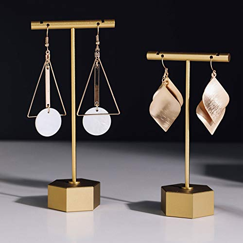 BanST Metal Gold 4.5& 5.3-2pcs T Bar Earring Retail Display Stand Tree for Show, Tabletop Jewelry Tower Holder for Girl Women【Gold-Hexagon Base-Height 4 1/2& 5 2/5-2pcs】