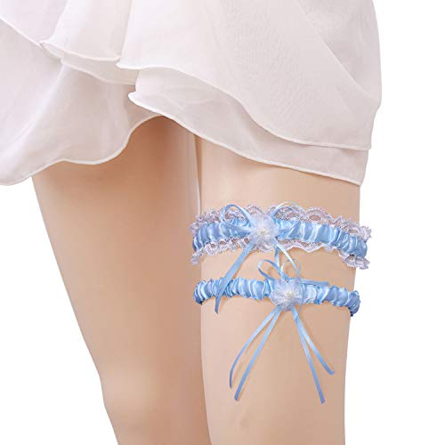 (Kalolary Wedding Garter Set, Lace Garter for Bride Pearl Flower Stretch Prom Wedding Garter with Toss Away(Light Blue))