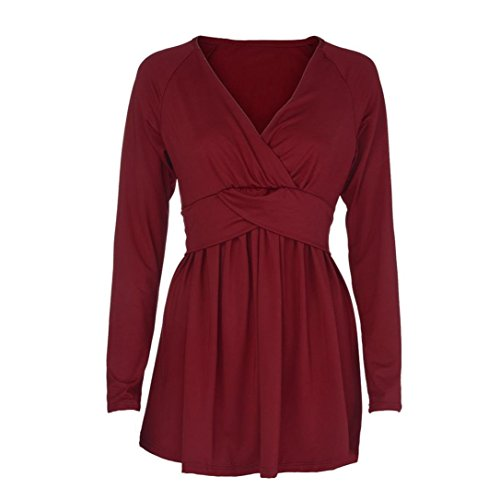Manches Dcontract Bordeaux DAYLIN Col Top Solid V Courtes Femme Chemisier FgYqO