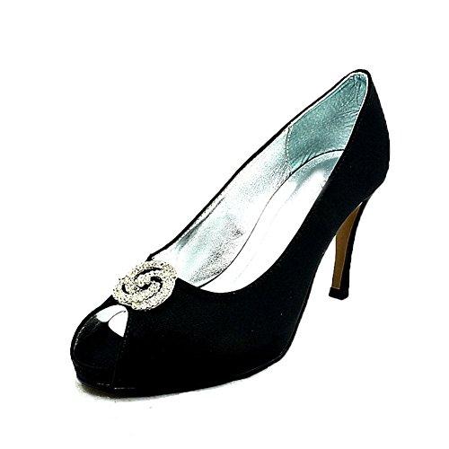 Shimmer raso abierto del dedo del pie zapatos de la boda de tacón medio negro