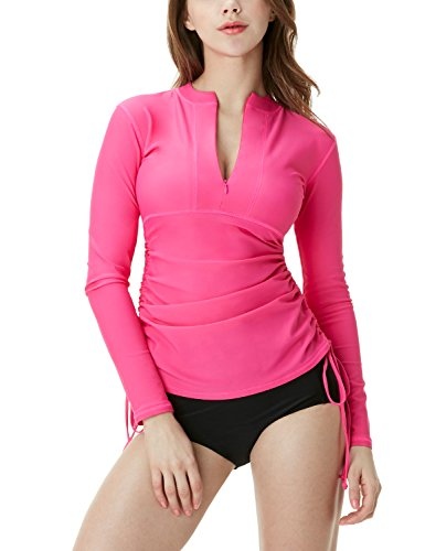 TSLA Women's UPF 50+ Full & Half Zip Front Long Sleeve Top Rashguard Swimsuit, Half Zip(fsz04) - Magenta, X-Small ()