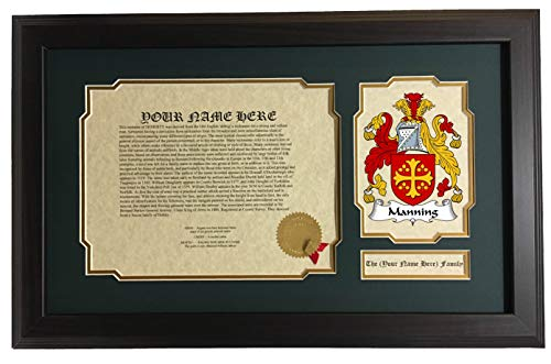 Manning - Coat of Arms and Last Name History, 14x22 Inches Matted and Framed