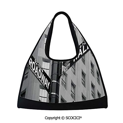 Table tennis bag,Street Signs of intersection of Wall Street and Broadway Finance Art Destinations Photo,Easy to Carry(18.5x6.7x20 in) Black and - Messenger Canvas Broadway