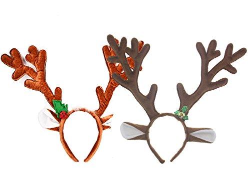 Fyess 2 Pack Cute Reindeer Antlers Headband, Headwear Hair Hoop For Christmas and Cosplay,Masquerade, Easter Party Headbands]()