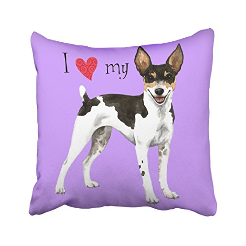 Emvency Decorative Throw Pillow Cover Square Size 16x16 Inches I Love My Rat Terrier Pillowcase With Hidden Zipper Decor Cushion Gift For Holiday Sofa Bed (Southwestern Patterned Vase)