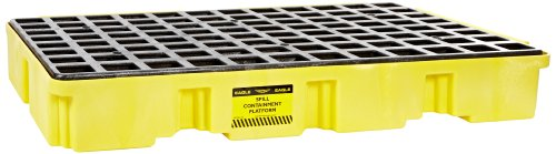 eagle-1632-yellow-and-black-polyethylene-two-drum-modular-platform-with-flat-top-grating-5000-lbs-lo