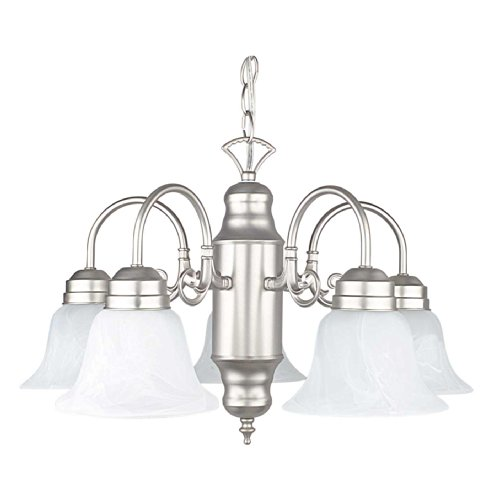 Sunset Lighting F6316-53 Chandelier with Faux Alabaster Glass, Satin Nickel - Faux Alabaster