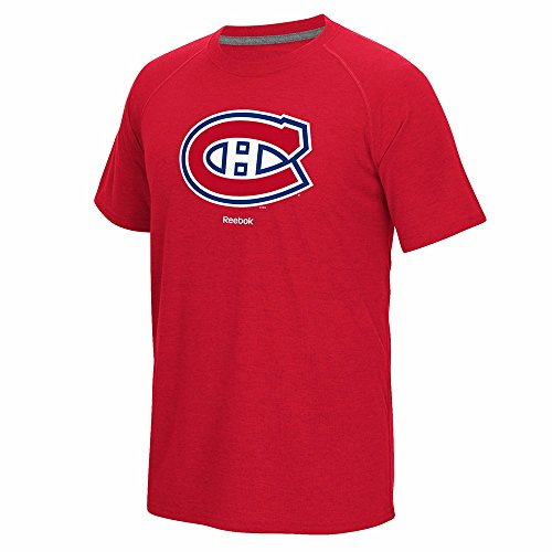 (Reebok Montreal Canadiens NHL Red Jersey Crest PlayDry Performance Ultimate T-Shirt for Men (L))