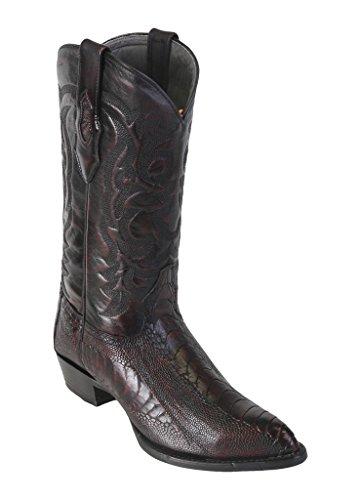 (Men's J-Toe Black Cherry Genuine Leather Ostrich Leg Western Boots)
