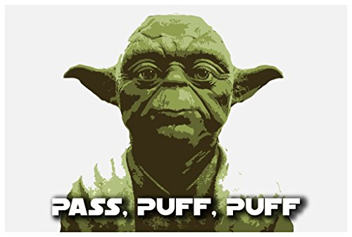 JSC191 Pass Puff Puff Yoda Poster | 18-Inches By 12-Inches | Premium 100lb Gloss Poster Paper
