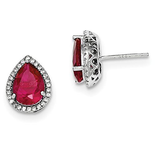 ICE CARATS 925 Sterling Silver Created Red Ruby Cubic Zirconia Cz Post Stud Ball Button Earrings Birthstone July Set S Pear Fine Jewelry Gift Set For Women Heart