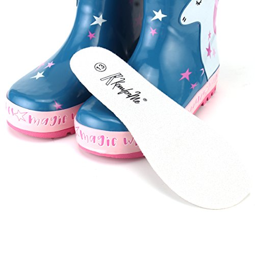 KomForme Kids Girl Rain Boots, Waterproof Rubber Printed with Handles in Various Prints and Different Sizes by KomForme (Image #7)