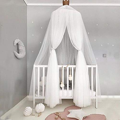 Bed Canopy, Dyna-Living Net Dome Tent Light Block Out Room Decorate W/Assembly Tools for Boys Girls Reading Playing Indoor Game House, White with Stars