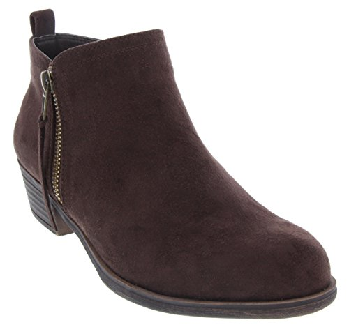 Dark Brown Kid Suede Footwear - Rampage Women's Tarragon Ankle Bootie Dark Brown Fx Suede 7