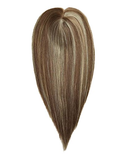 Uniwigs Remy Human Hair Mono Hairpiece, Hand Made Tied Hair Topper, Straight 16 Inches, Add Hair Volume Instantly for Hair Loss by uniwigs