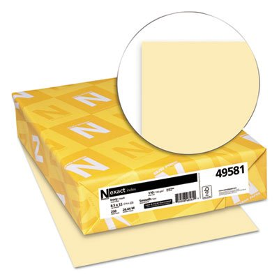 Wausau 49581 Exact Index Card Stock, 110 lbs., 8-1/2 x 11, Ivory, 250 Sheets/Pack
