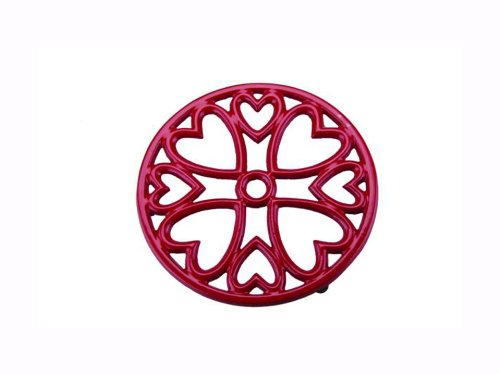 Apollo Housewares mini round cast iron trivet red