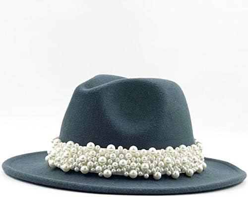 HWJDGWQ Hei/ße Frauen Wolle Fedora Hut Mit Perlenband Gentleman Elegante Dame Winter Herbst Breiter Krempe Kirche Panama Sombrero M/ädchen Kappe