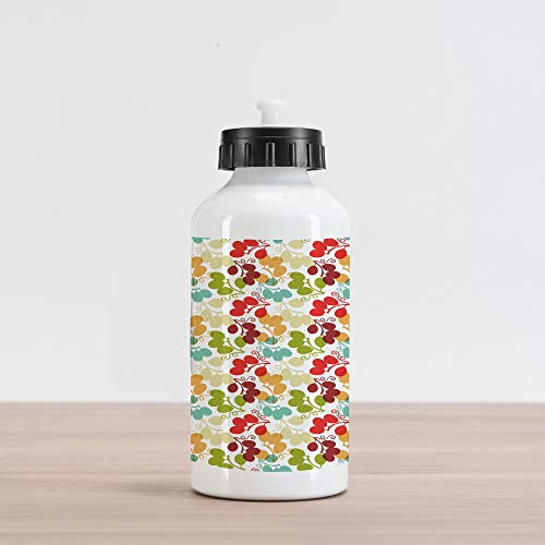 Lunarable Vineyard Aluminum Water Bottle, Mix of Swirled Bunch of Grapes Kid Theme Blend Exotic Flavor Design, Aluminum Insulated Spill-Proof Travel Sports Water Bottle, - Mix Vineyard
