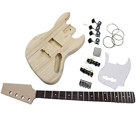 Bajo eléctrico Jazz DIY Kit de guitarra hy109 cuerpo de fresno Kits para estudiantes y Luthier proyectos gran diversión: Amazon.es: Instrumentos musicales