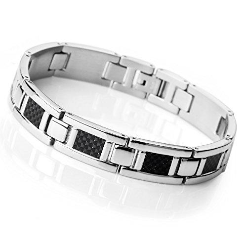 Bracelet homme argent noir