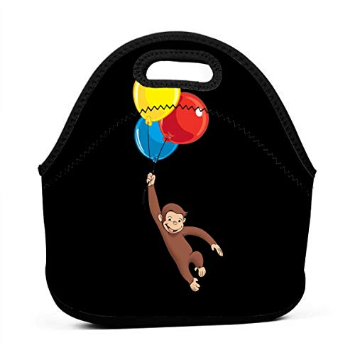 Thick Reusable Insulated Thermal Lunch Bag Small Waterproof Lunch Box Carry Case Handbags Tote With Zipper For Outdoor Travel Picnic, Curious - Lunch George Curious Box
