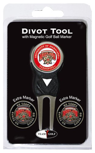 Team Golf NCAA Maryland Terrapins Divot Tool with 3 Golf Ball Markers Pack, Markers are Removable Magnetic Double-Sided Enamel