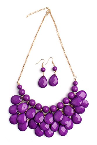 Riah Fashion Women's Dark Purple Beaded Bubble Bib Chunky Statement Pendant Necklace Set (Beaded Purple Jewelry Set)