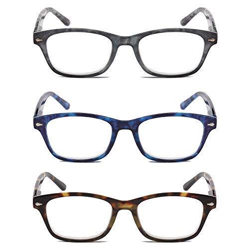 KoKoBin 3 Pairs Fashion Reading Glasses for Men Women,Computer Reading Glasses,Spring Hinged Readers Glasses,Thin Rectangular Lens Fashion Readers Tortoise ()