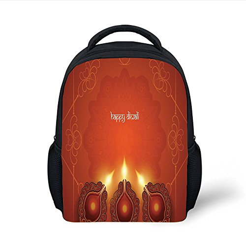 iPrint Kids School Backpack Diwali,Vibrant Colored Abstract Eastern Design with Festive Elements Swirls and Lines Artwork Decorative,Orange Plain Bookbag Travel Daypack by iPrint