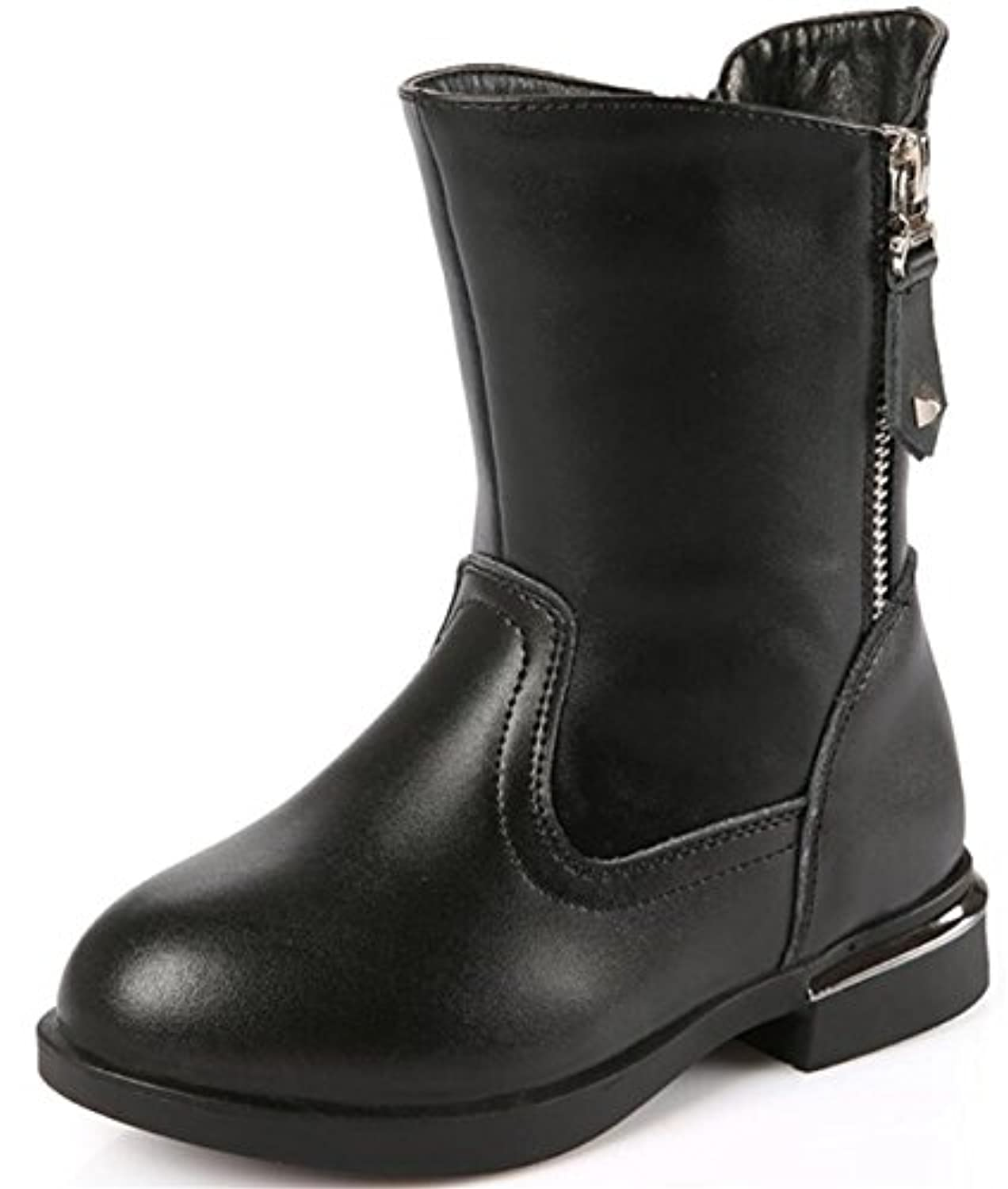 PPXID Girl's Leather Side Zip Warm Ankle Boots-Black Junior 1.5 UK Size
