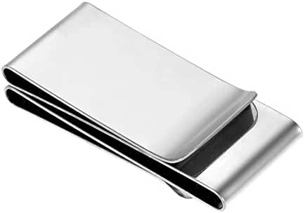 HooAMI Stainless Steel Double-Sided Smart Money Clip & Credit Card Holder For Men