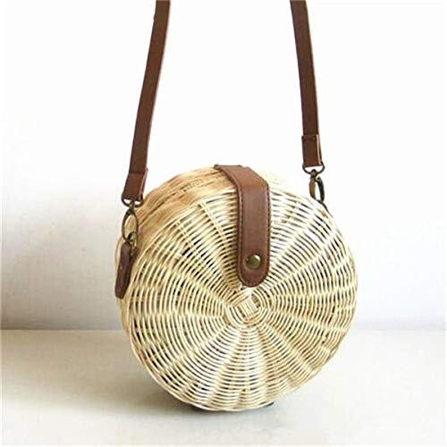Square Round Style Straw Bag Handbags Women Summer Rattan Bag Handmade Woven Beach Circle Handbag (Style 1-Big)