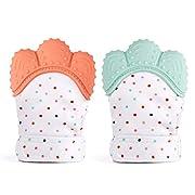 2 Baby Teething Mittens for Babies Self-Soothing Pain Relief and Teething Glove BPA FREE Safe Food Grade Teething Mitt