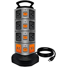 Power Strip Tower, LOVIN PRODUCT Surge Protector Electric Charging Station, 14 Outlet Plugs with 4 USB Slot 6ft Cord Wire Extension Universal Charging Station (1-PACK)