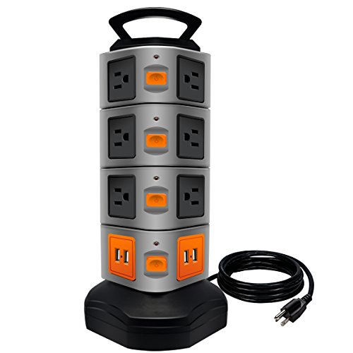 Modular Outlet - Power Strip Tower, LOVIN PRODUCT Surge Protector Electric Charging Station, 14 Outlet Plugs with 4 USB Slot 6ft Cord Wire Extension Universal Charging Station (1-PACK)