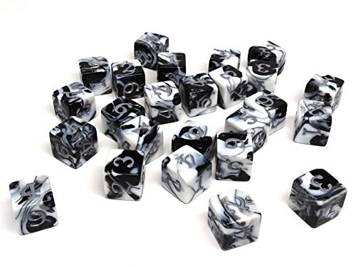 Army #5 D6 Collection - 25 Count Pack of Numbered 6 Sided Dice - Perfect for Tabletop War Games and RPGs