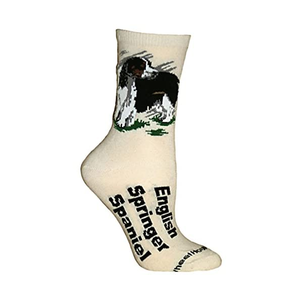 English Springer Spaniel Cream Ultra Lightweight Cotton Dog Breed Crew Socks (One Size Fits Most) Made in USA 1