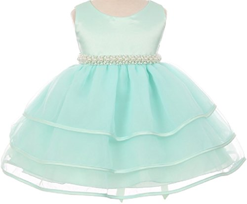 Little Baby Girls' Sparkle Pearl Beading Waistline Flowers Girls Dresses Mint 2XL (C11B3) (Brooch Bolero)
